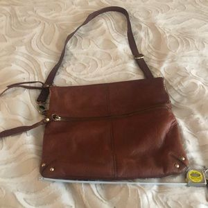 Brown leather cross body lucky brand purse
